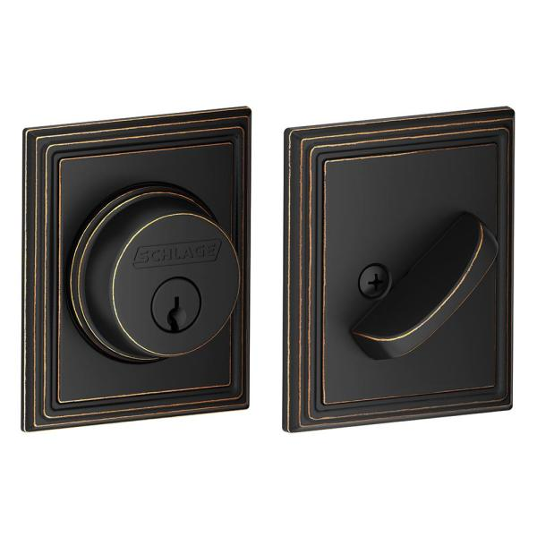 Addison Aged Bronze Single Cylinder Deadbolt