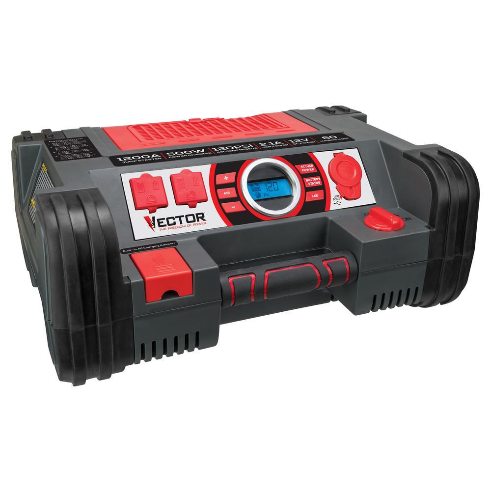 Vector 1200 Peak Amp Portable Car Jump Starter/Portable Power Station with 120 PSI Compressor and 500 Watt Power Inverter