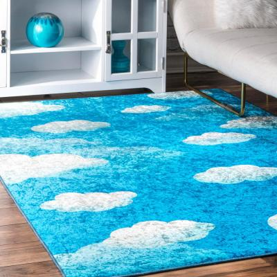 Fluffy Clouds Playmat Blue 7 ft. x 9 ft.  Area Rug