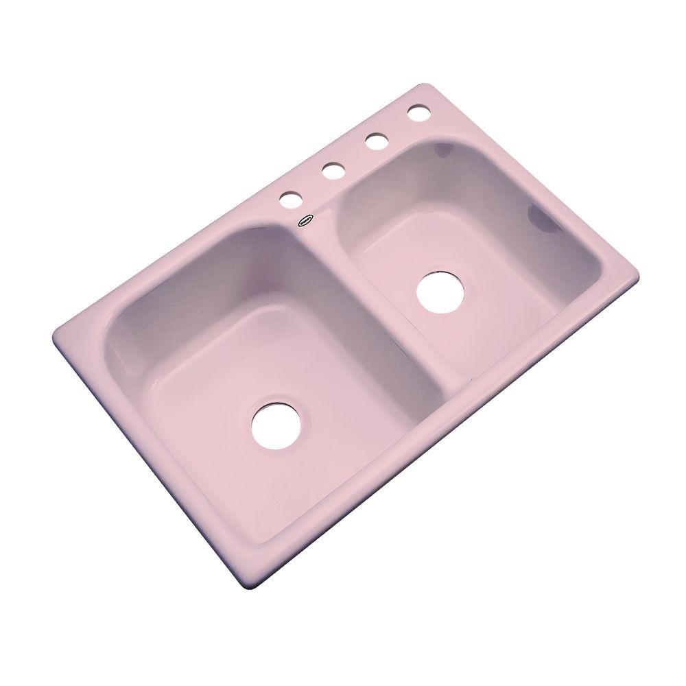 Thermocast Cambridge Drop-In Acrylic 33 in. 4-Hole Double Bowl Kitchen Sink in Dusty Rose