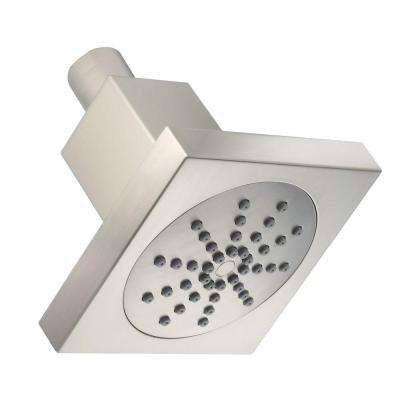 1-Spray 4 in. Square Showerhead in Brushed Nickel