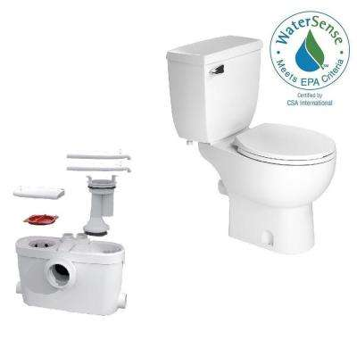 SaniAccess3 2-Piece 1.280 GPF Single Flush Round Toilet with .5 HP Macerating Pump in White by SaniFlo