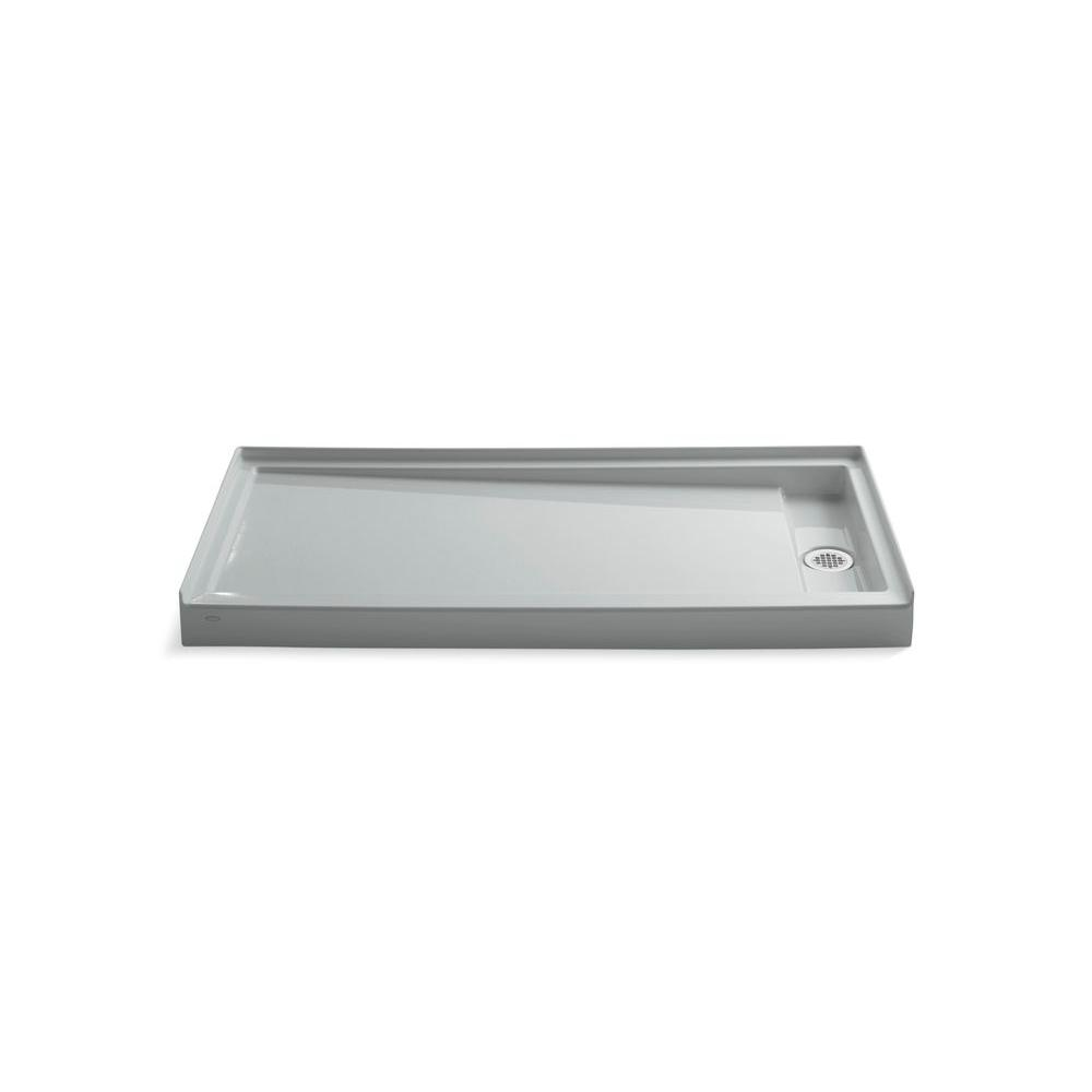 KOHLER Groove 60 in. x 32 in. Single Threshold Shower Base in Ice Grey
