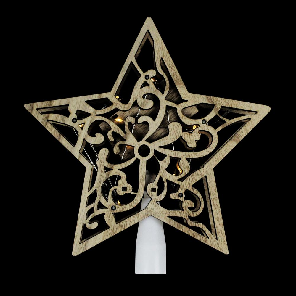 Northlight 10 In Lighted Battery Operated Wooden Star Christmas Tree Topper In Clear Lights 33388878 The Home Depot