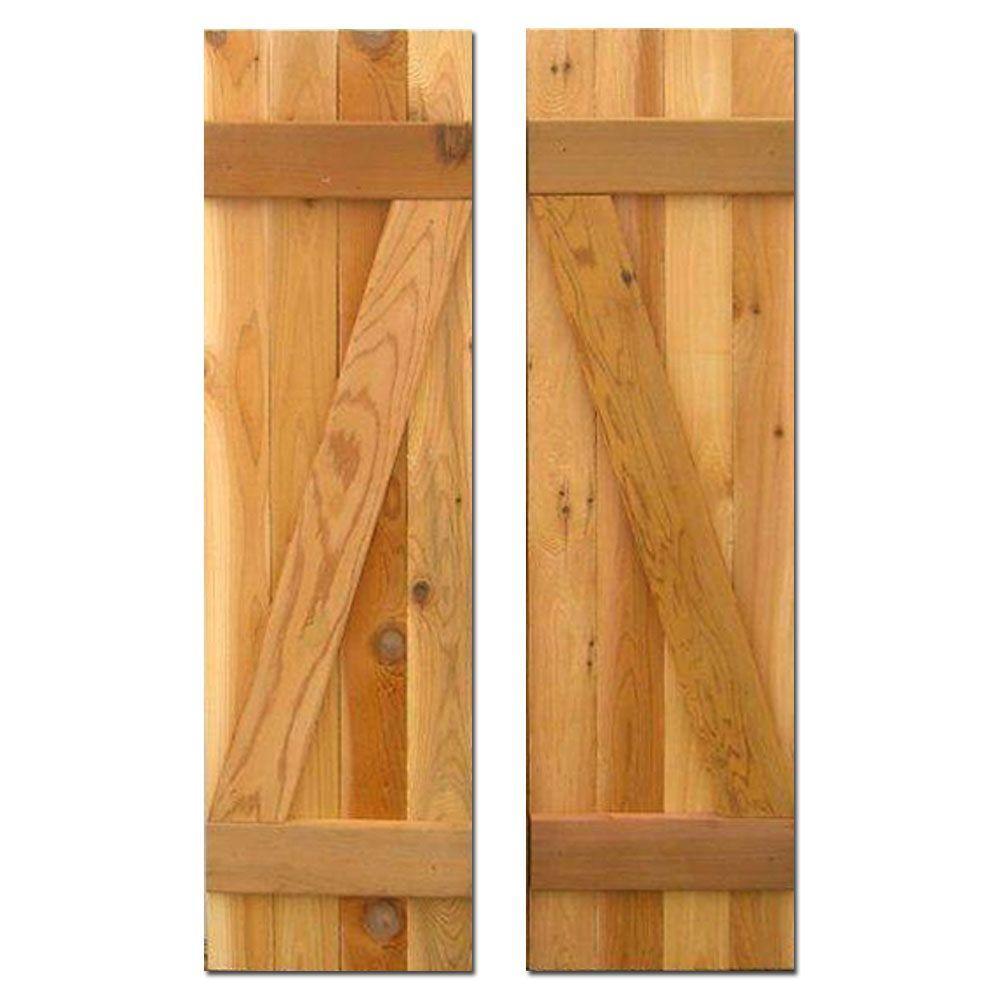12 in. x 39 in. Board-N-Batten Baton Z Shutters Pair Natural Cedar