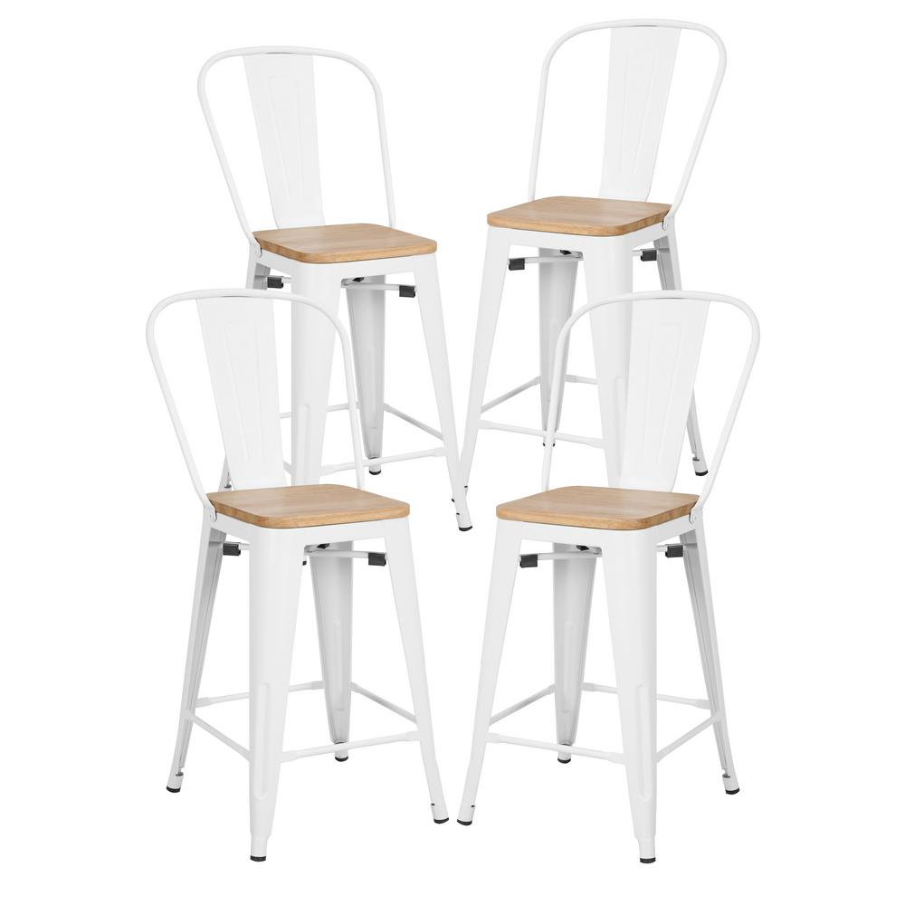 White High Back Counter Stool With Solid Oak Seat