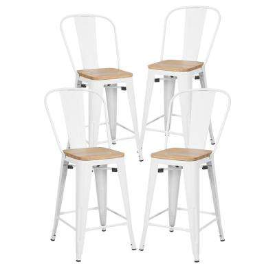 Trattoria 24 in. White High Back Counter Stool with Solid Oak Seat in White (Set of 4)