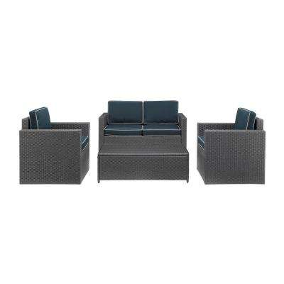 Palm Harbor 4-Piece Wicker Outdoor Conversation Set with Navy Cushions