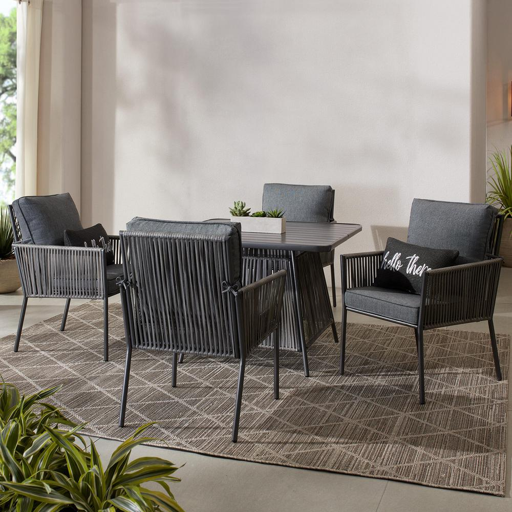 Hampton Bay Tolston 5-Piece Wicker Outdoor Patio Dining Set with Charcoal Cushions