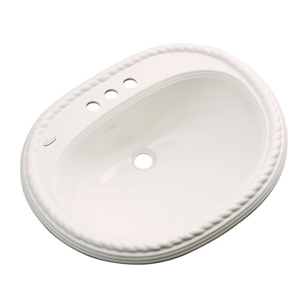 Malibu Drop-In Bathroom Sink with Faucet Hole in Bone