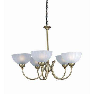 5-Light Bronze Chandelier with Frost Glass Shade