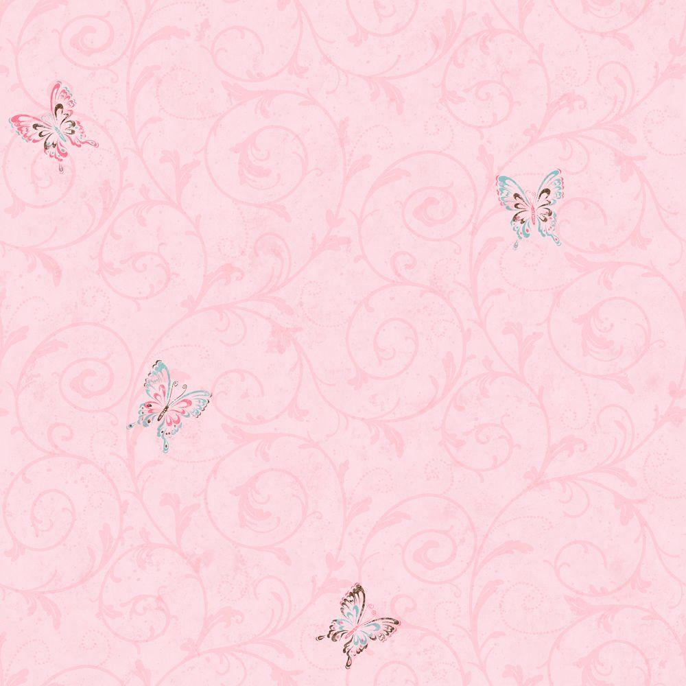 York Wallcoverings 56 Sq. Ft. Butterfly Scroll Wallpaper-DISCONTINUED