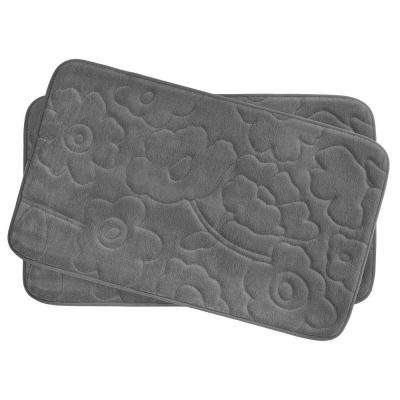 Stencil Floral Dark Gray 17 in. x 24 in. Memory Foam 2-Piece Bath Mat Set