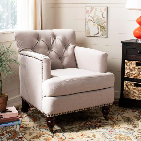 Safavieh Colin True Taupe Fabric Tufted Arm Chair HUD8212J