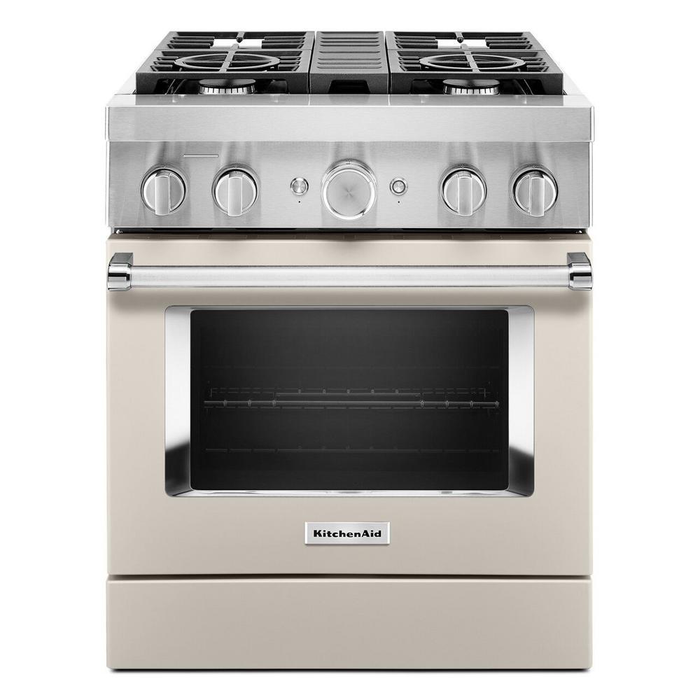 KitchenAid 30 in. 4.1 cu. ft. Dual Fuel Freestanding Smart Range with 4-Burners in Milkshake