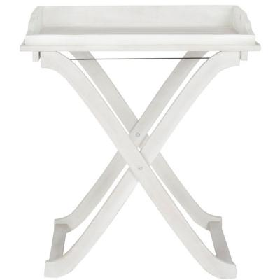 Covina Antique White Wood Patio Tray Table