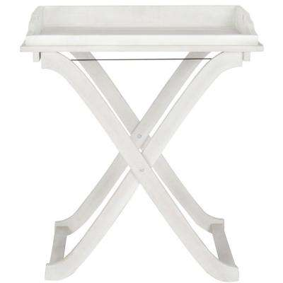Covina Antique White Patio Tray Table