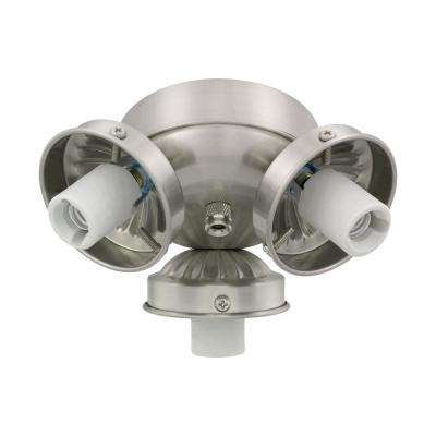 3-Light Brushed Steel Fitter Ceiling Fan Light