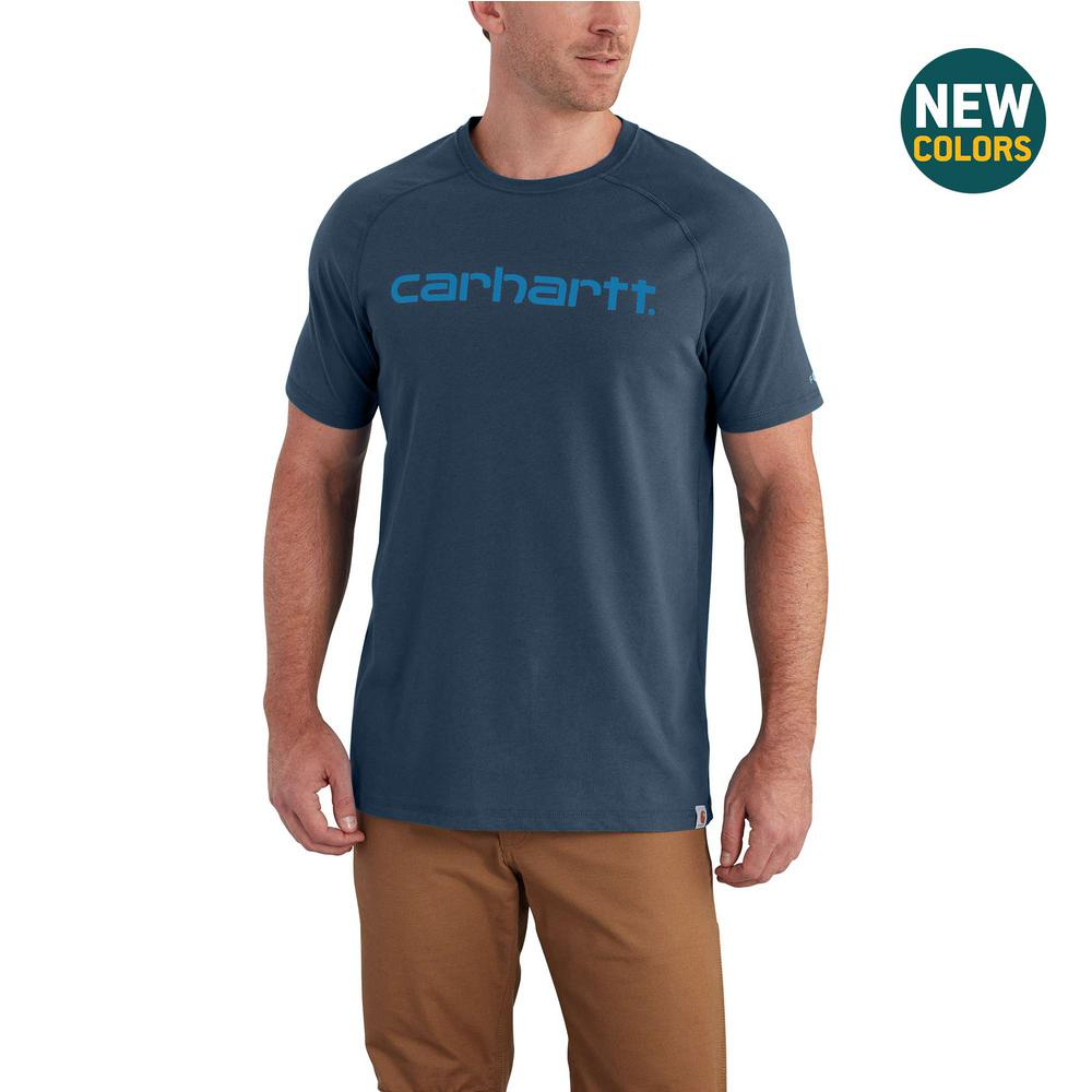 09a67516 Carhartt MEN'S SMALL LIGHT HURON HEATHER COTTON/POLYESTER FORCE COTTON  DELMONT GRAPHIC SHORT SLEEVE T