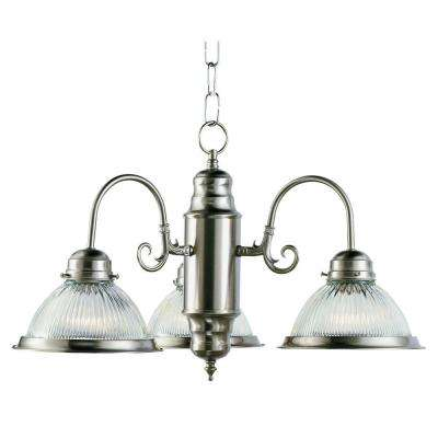 Cabernet Collection 3-Light Brushed Nickel Chandelier with Clear Ribbed Shade