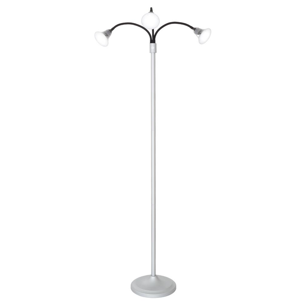 69 in. Silver 3-Headed Floor Lamp with Adjustable Arms