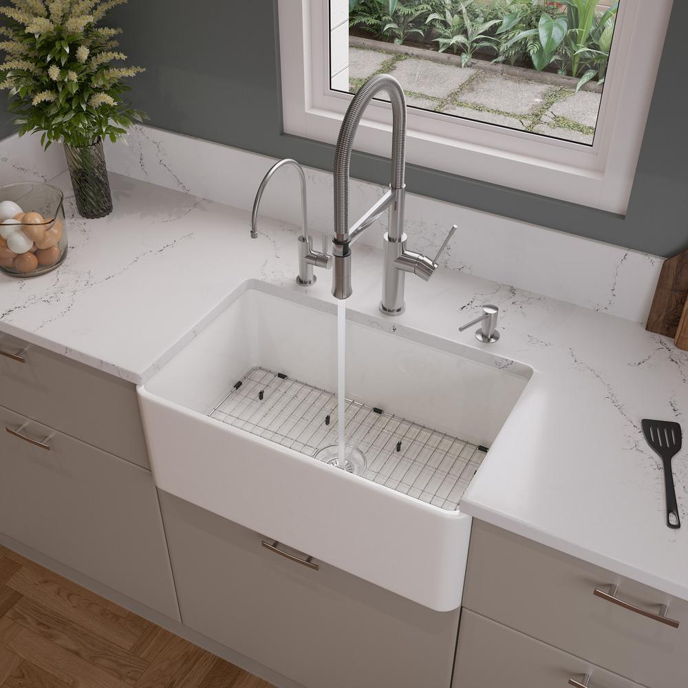 White Fireclay 30 in. Single Bowl Farmhouse Kitchen Sink