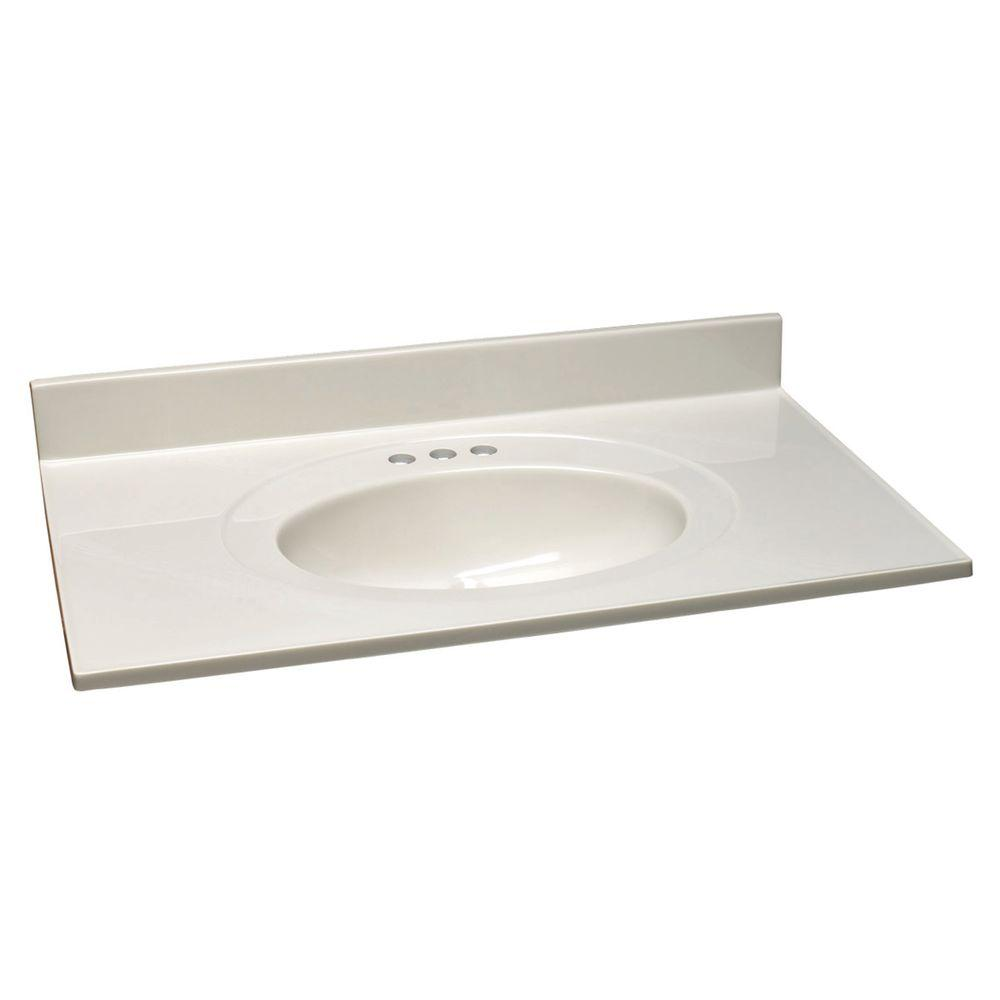 25 in. W Cultured Marble Vanity Top with White on White