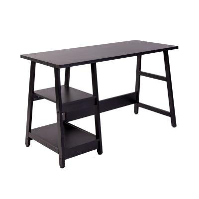 47 in. Rectangular Black Writing Desk with Open Storage