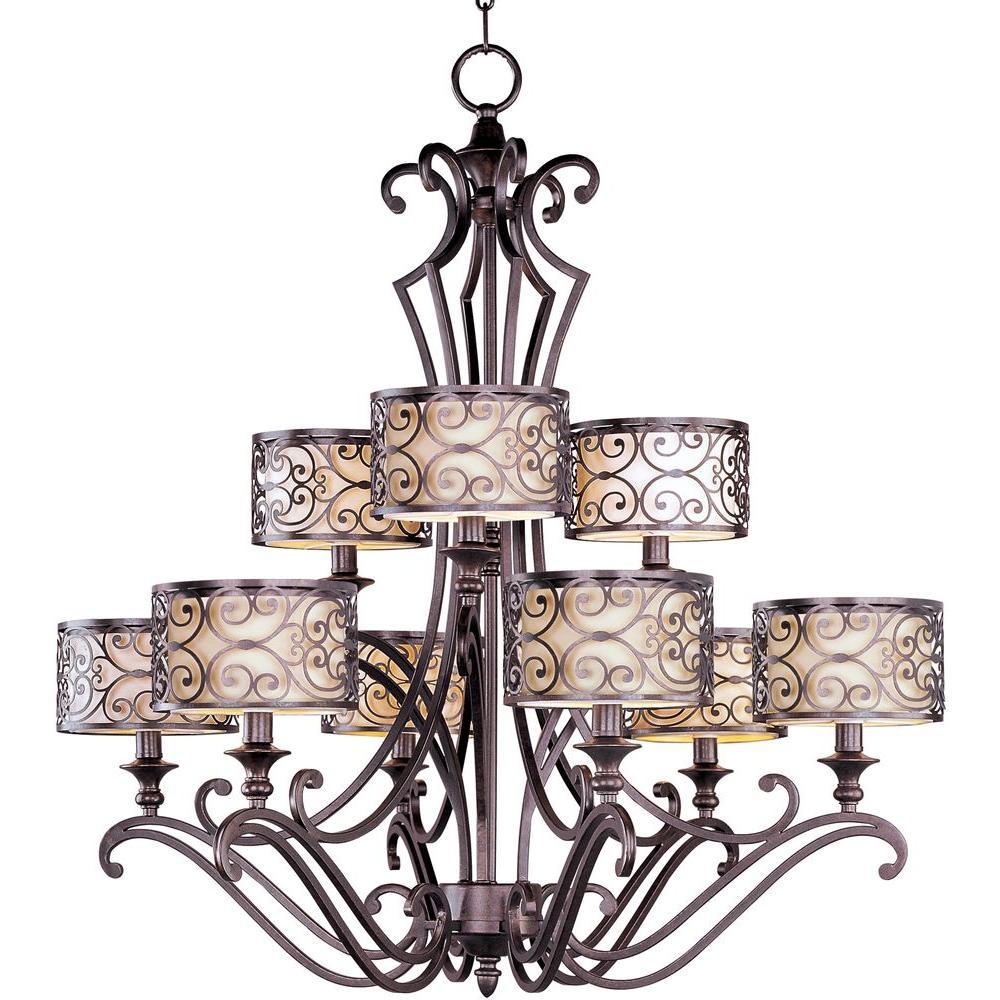 Maxim Lighting Mondrian 9-Light Umber Bronze Multi-Tier Chandelier