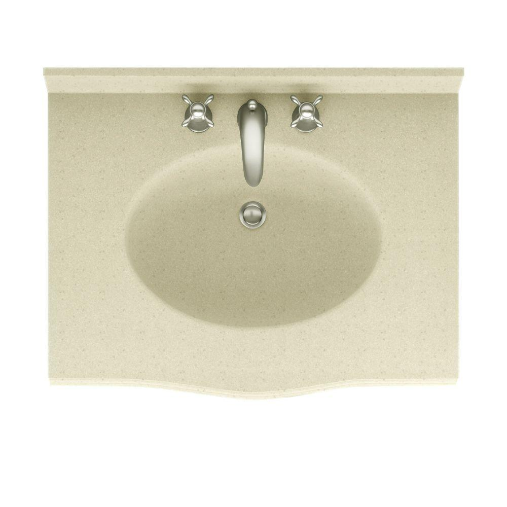 Swanstone Europa 25 in. Solid Surface Vanity Top with Basin in Caraway Seed-DISCONTINUED