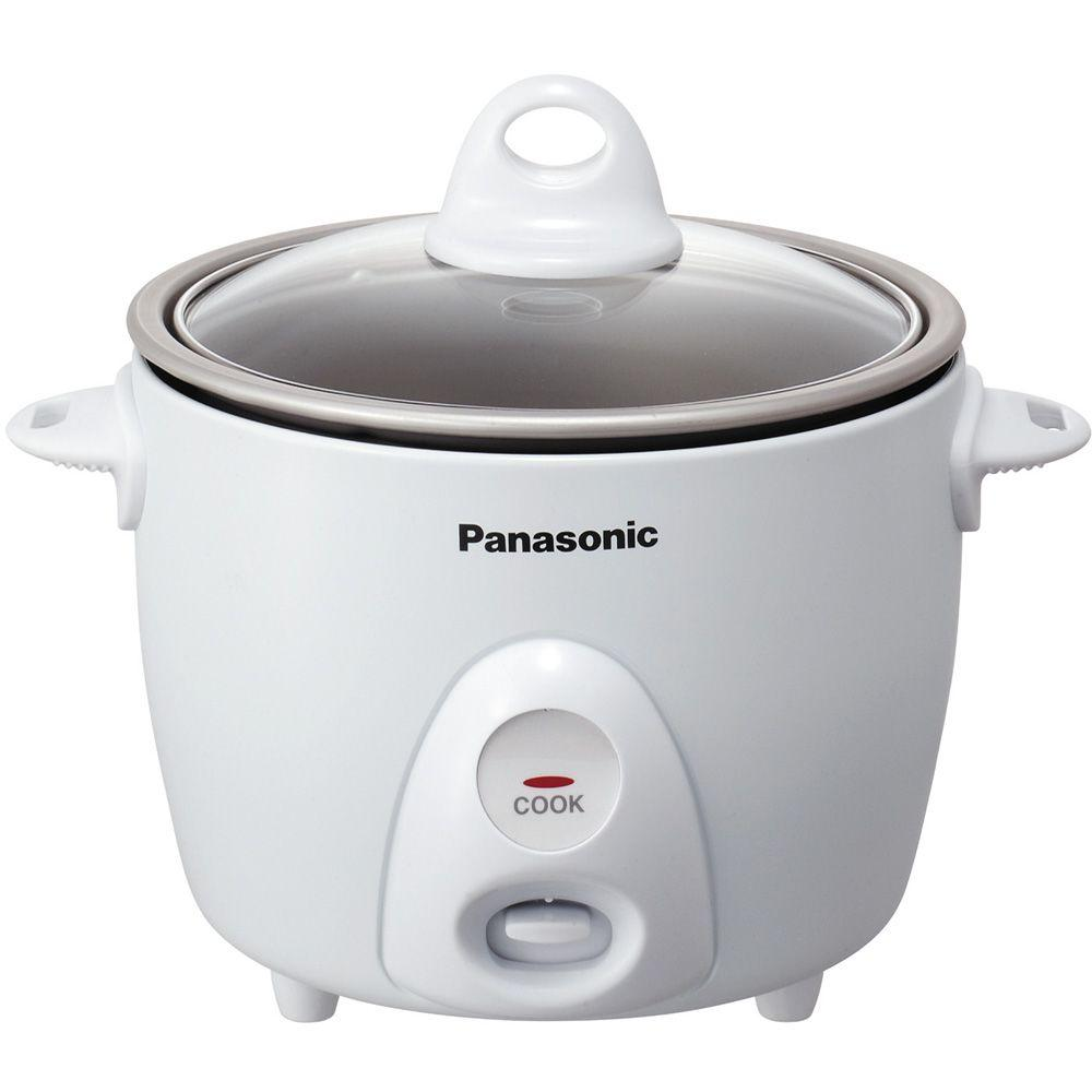 Panasonic 3.3-Cup Rice Cooker with Glass Lid in Silver