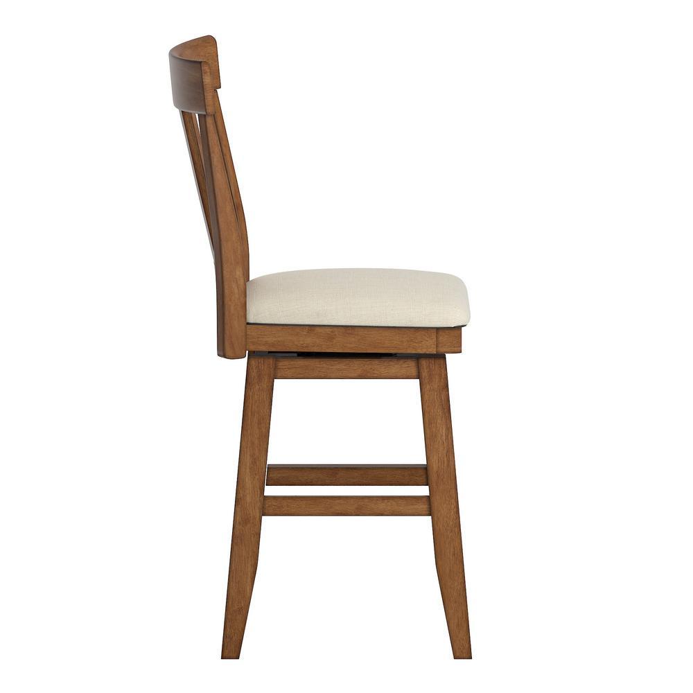 HomeSullivan 24 in. H Oak Panel Back Swivel Chair with Beige