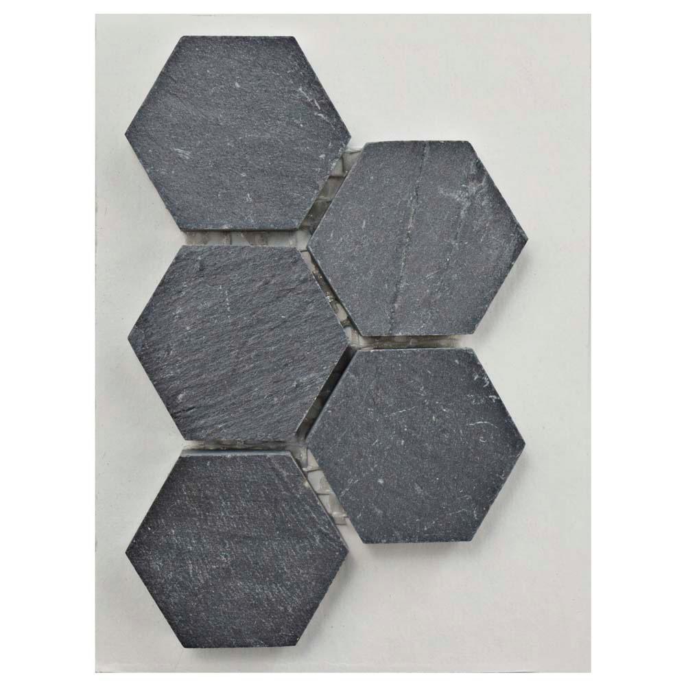 Crag Hexagon Black Slate Mosaic Tile - 3 in. x 4 in. Tile Sample
