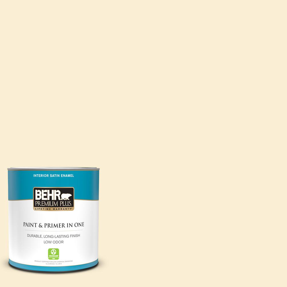 Behr Premium Plus 1 Qt M270 1 Pearly White Satin Enamel Low Odor Interior Paint And Primer In One 705004 The Home Depot
