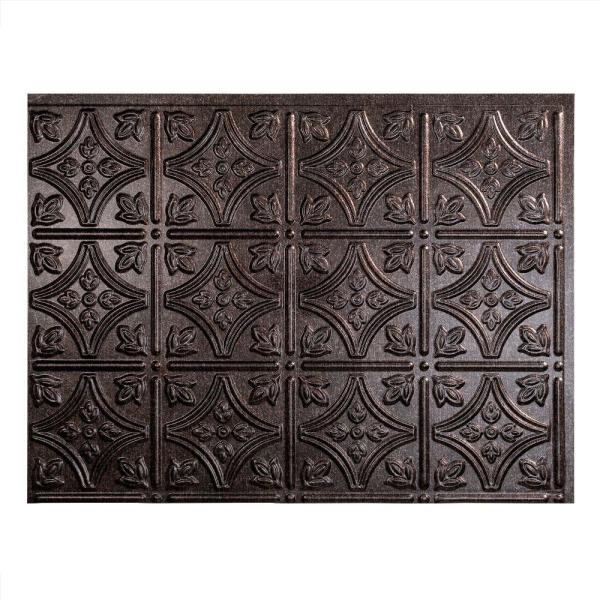 18.25 in. x 24.25 in. Smoked Pewter Traditional Style # 1 PVC Decorative Backsplash Panel
