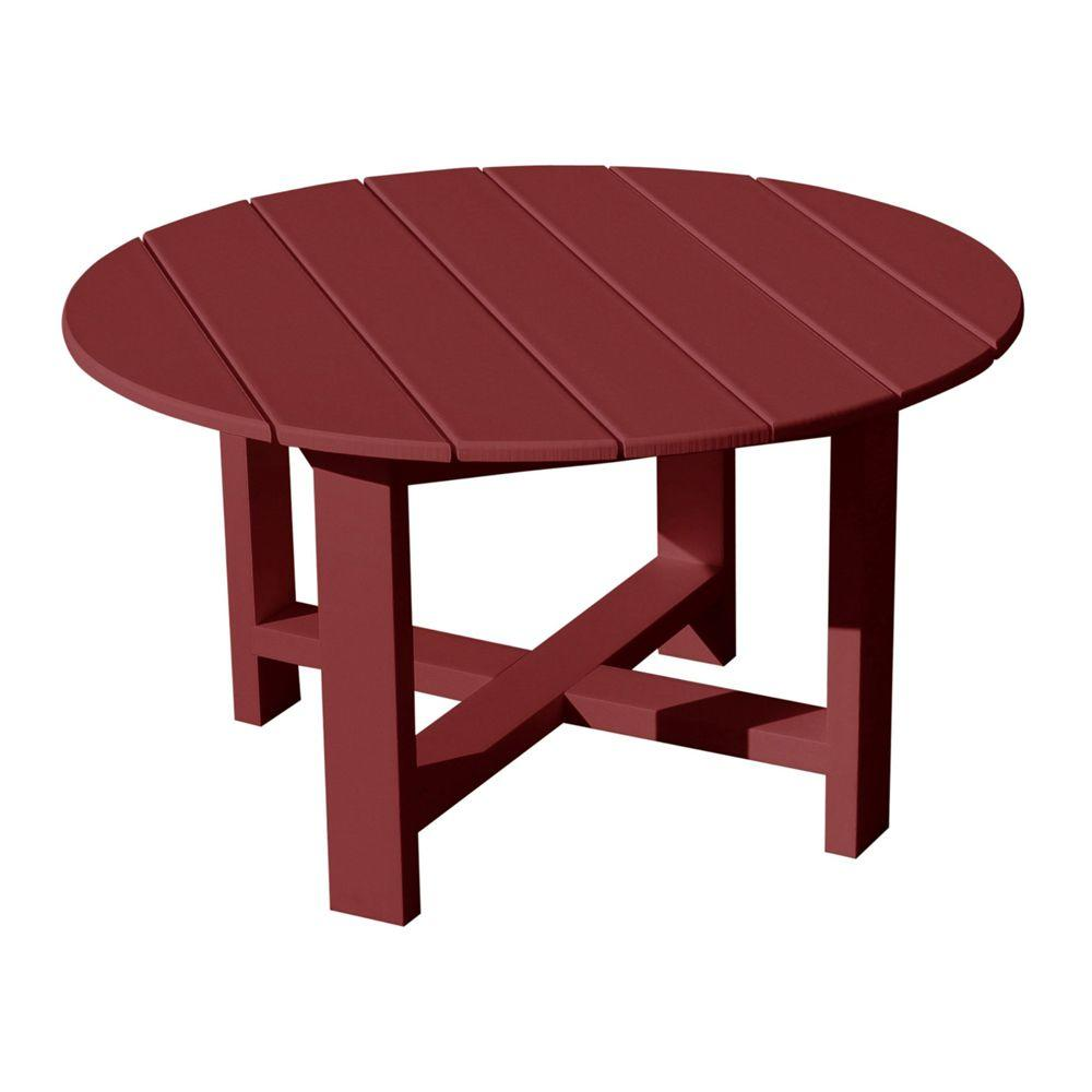 Vifah Roch Recycled Plastics 40 in. Patio Conversation Table in Burgundy-DISCONTINUED