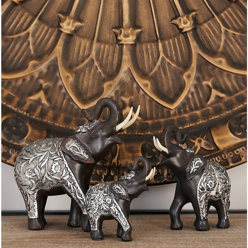 Polystone Standing Elephants Sculptures (Set of 3)