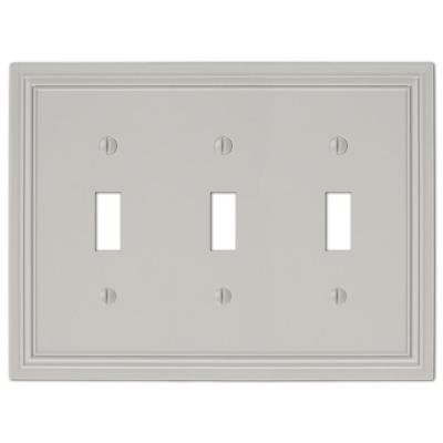 Hallcrest 3 Gang Toggle Metal Wall Plate - Gray