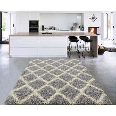 Cozy Shag Collection Gray/Cream Moroccan Trellis Design 7 ft. x 9 ft. Contemporary Shag Area Rug