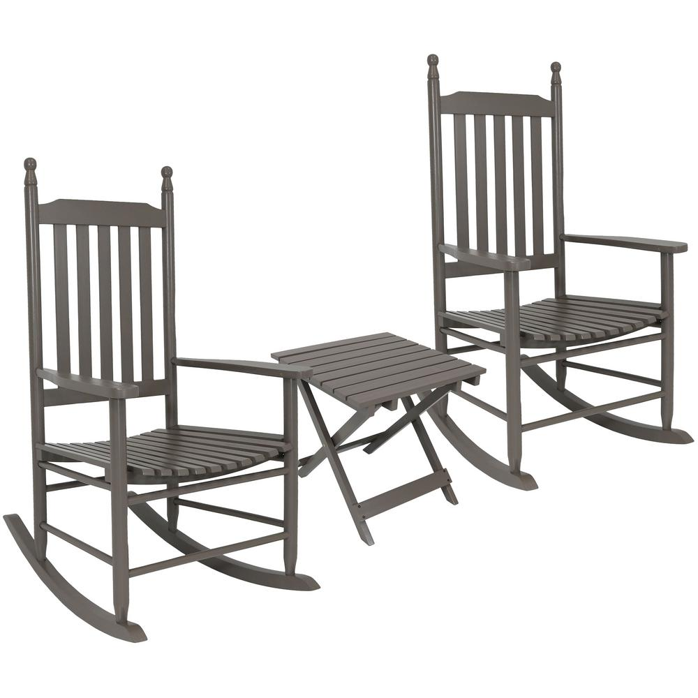 Sunnydaze Decor Gray Wooden Patio Rocking Chairs with Side Table (Set of 2)