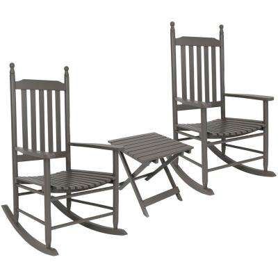 Gray Wooden Patio Rocking Chairs with Side Table (Set of 2)