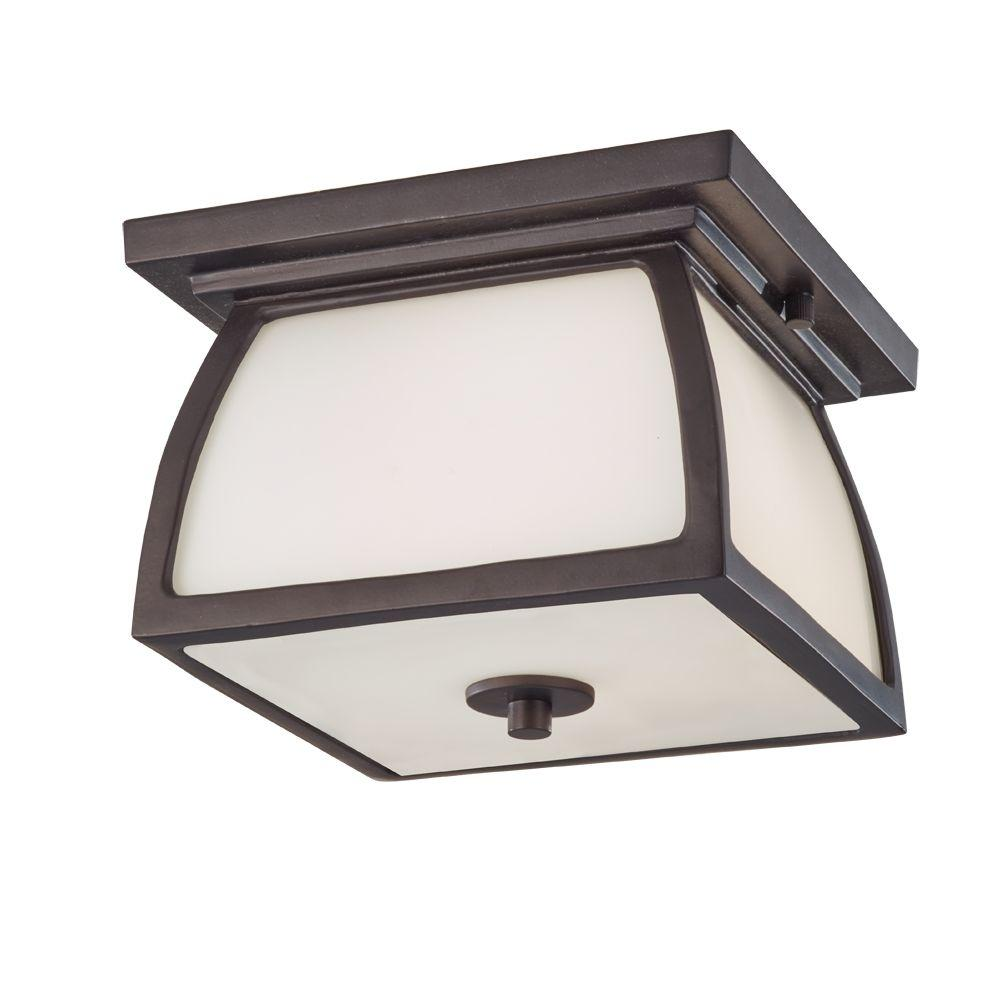 Wright House 1-Light Outdoor Oil Rubbed Bronze Flush Mount
