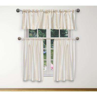 Phoebe Kitchen Valance in White-Gold - 15 in. W x 58 in. L (3-Piece)