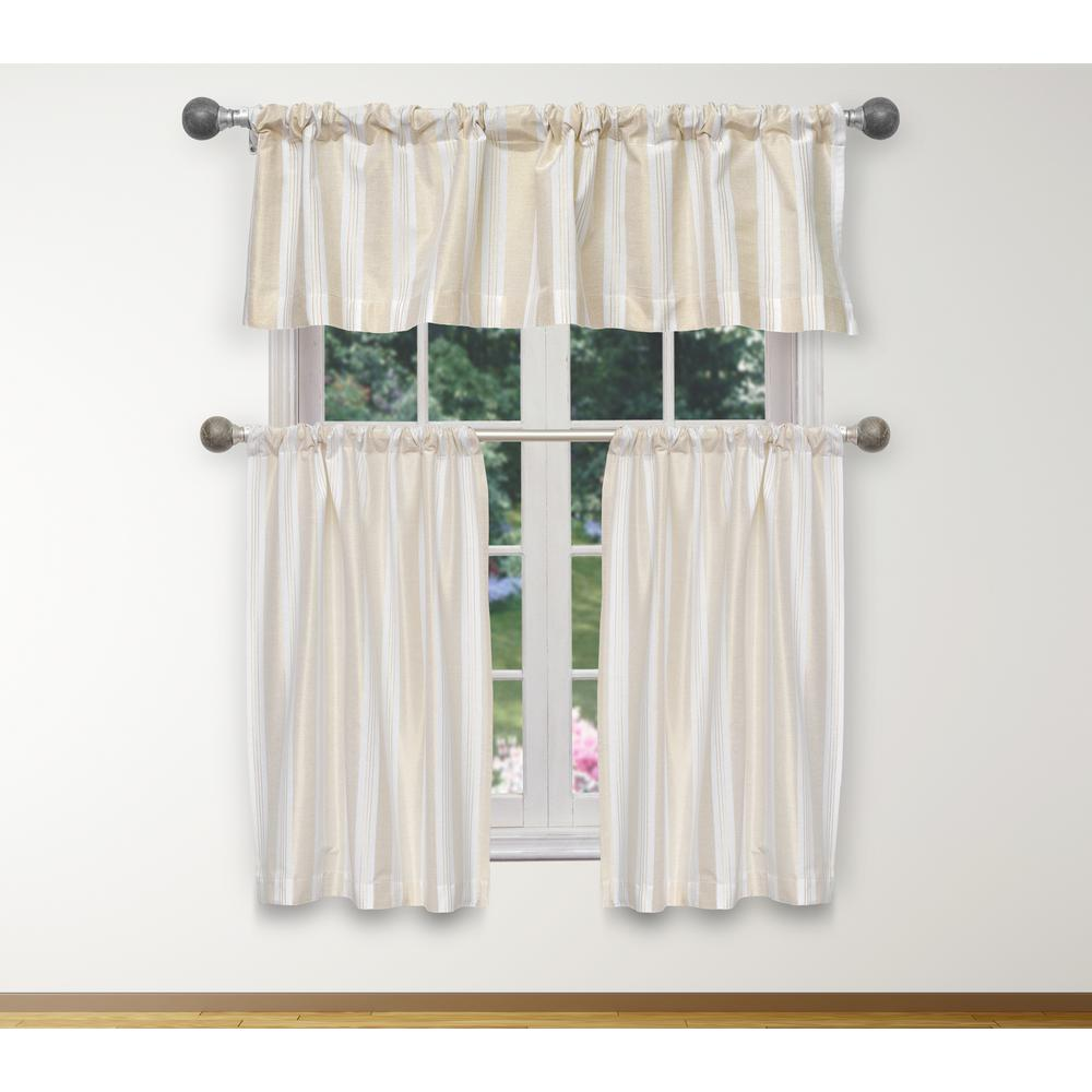 Duck River Phoebe Kitchen Valance In White Gold 15 In W X 58 In L 3 Piece