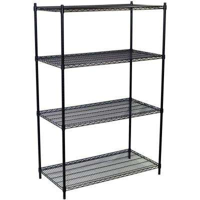 74 in. H x 60 in. W x 24 in. D 4-Shelf Steel Wire Shelving Unit in Black