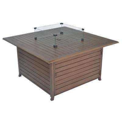 45 in. 50,000 BTU Square Aluminum Construction Propane Gas Fire Pit Table with Steel Burner, Table Lid and Cover