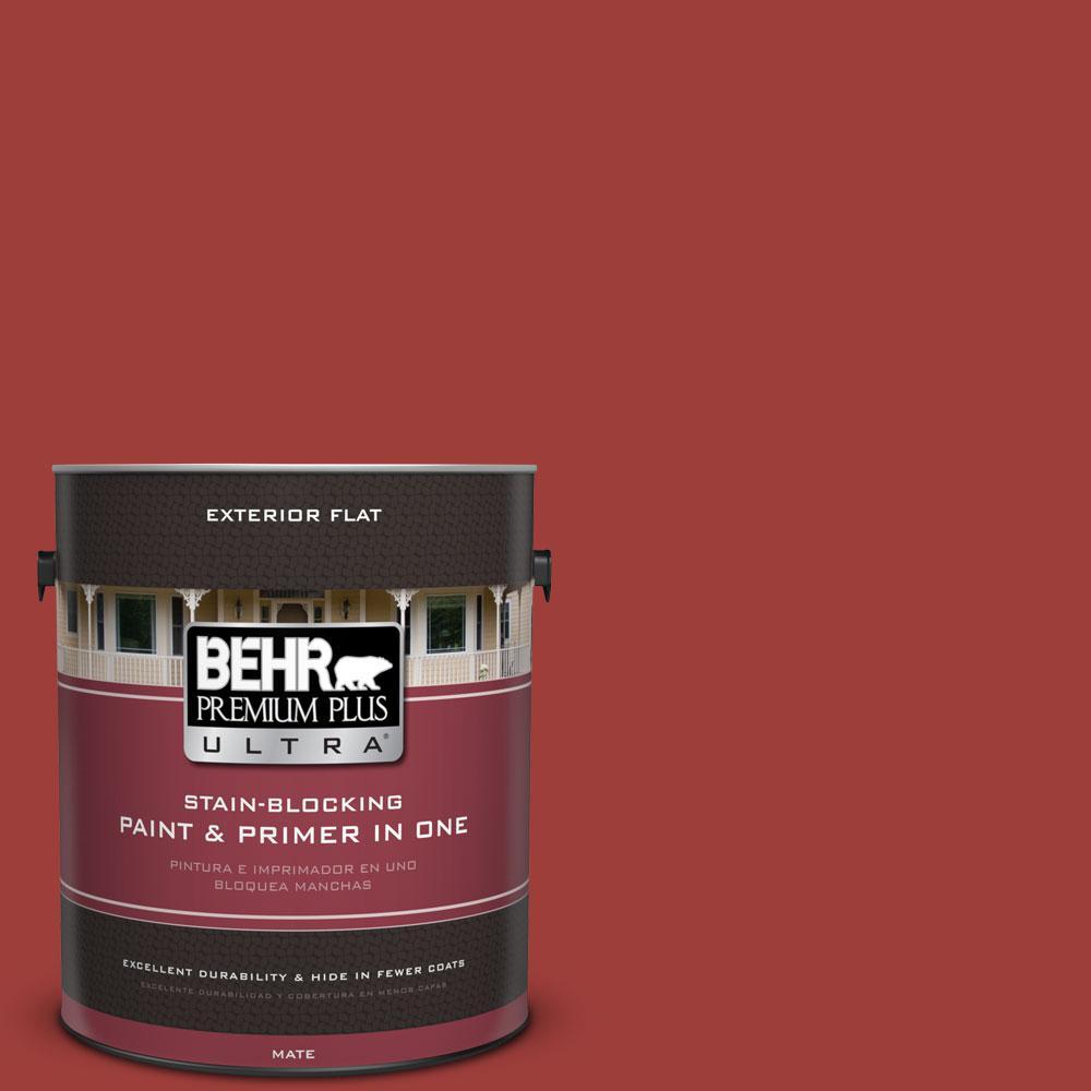 BEHR Premium Plus Ultra 1-Gal. #PPU2-16 Fire Cracker Flat Exterior Paint