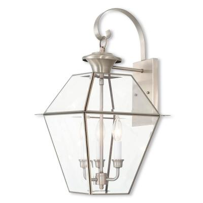 Westover 3-Light Brushed Nickel Outdoor Wall Lantern Sconce