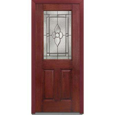 36 in. x 80 in. Master Nouveau Right-Hand 1/2 Lite 2-Panel Classic Stained Fiberglass Mahogany Prehung Front Door