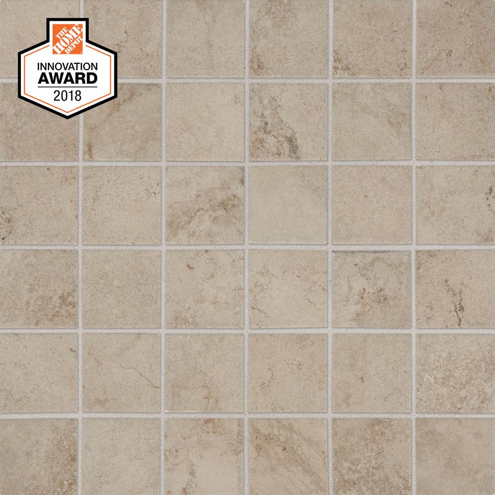 LifeProof Limestone 12 in. x 12 in. x 6.35mm Ceramic Mosaic Floor and Wall Tile (1 sq. ft. / piece)